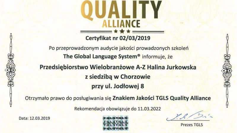 Otrzymaliśmy certyfikat: Międzynarodowy Znak Jakości TGLS. - Biolit