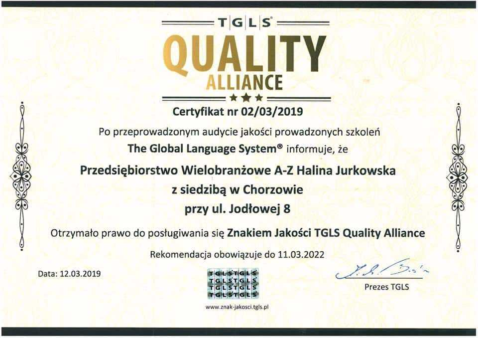 Otrzymaliśmy certyfikat: Międzynarodowy Znak Jakości TGLS