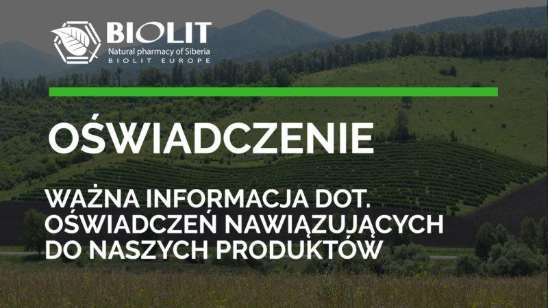 Ważna informacja dot. oświadczeń nawiązujących do naszych produktów - Biolit