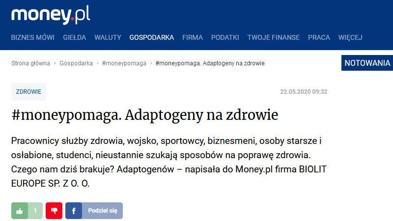 Adaptogeny na zdrowie - BIOLIT w money.pl - zapraszamy do lektury. - Biolit